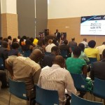 Mr. Eric Nsarko, Sales Distribution Exec at MTN delivering an address at the launch