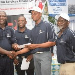 Winner Vincent Torgah (2nd right) receives his cheque from Gold Fields Head Alfred Baku (left) while PGA President, Mr Ayivor (right) and Damang Golf Club Captain Pius Appiah look on