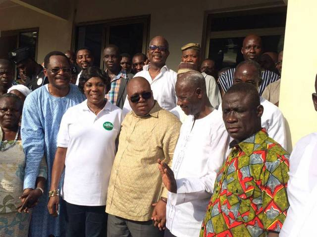 Support of the people: Hon. A. L. Akrofi in a memorable pose with Groupe Ideal CEO an Council of State member, Dr. Nii Kotei Dzani and others after the programme