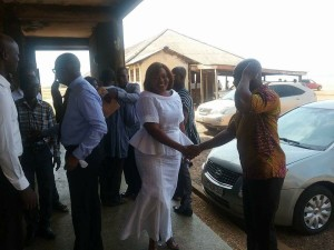 Hon Sarah Pobee all smiles on arrival at the District Assembly for her DCE endorsement which didn't go well