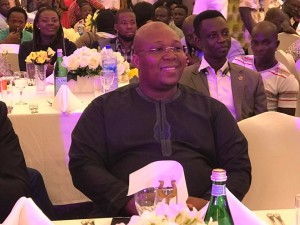 Dr. Nii Kotei Dzani enjoys the atmosphere at the official launch of the 80th Asafotufiami Festival 2017 at Labadi Beach Hotel in Accra on Monday night