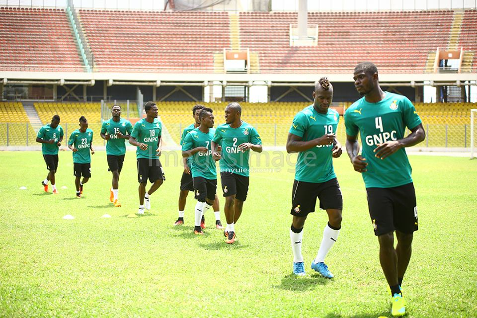 The Black Stars trained at an empty Accra Sports Stadium on Tuesday