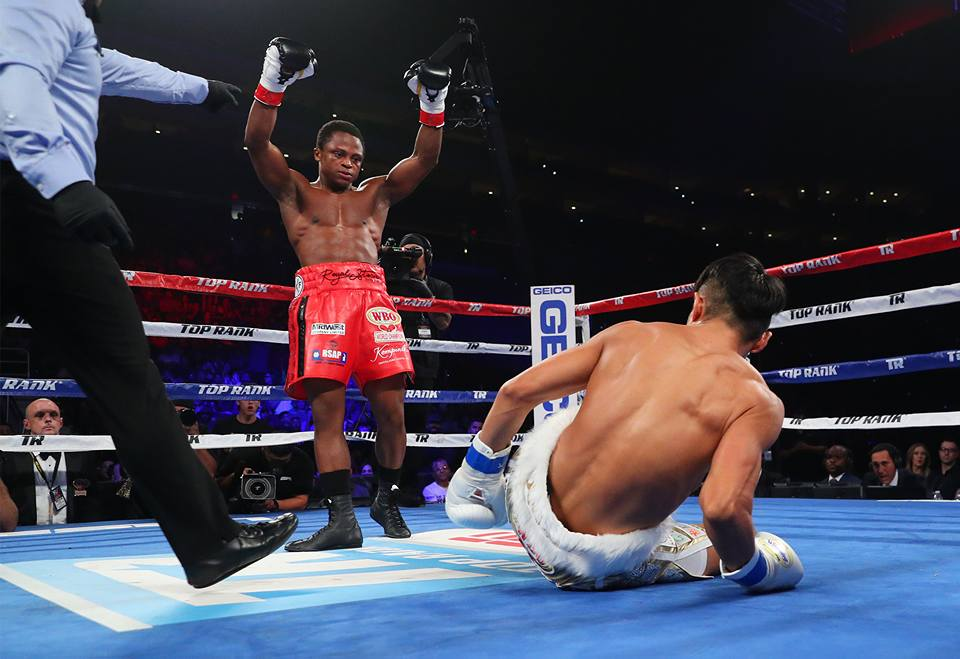 Dogboe knocked down Otake twice before stopping him in round 12 of their world title fight