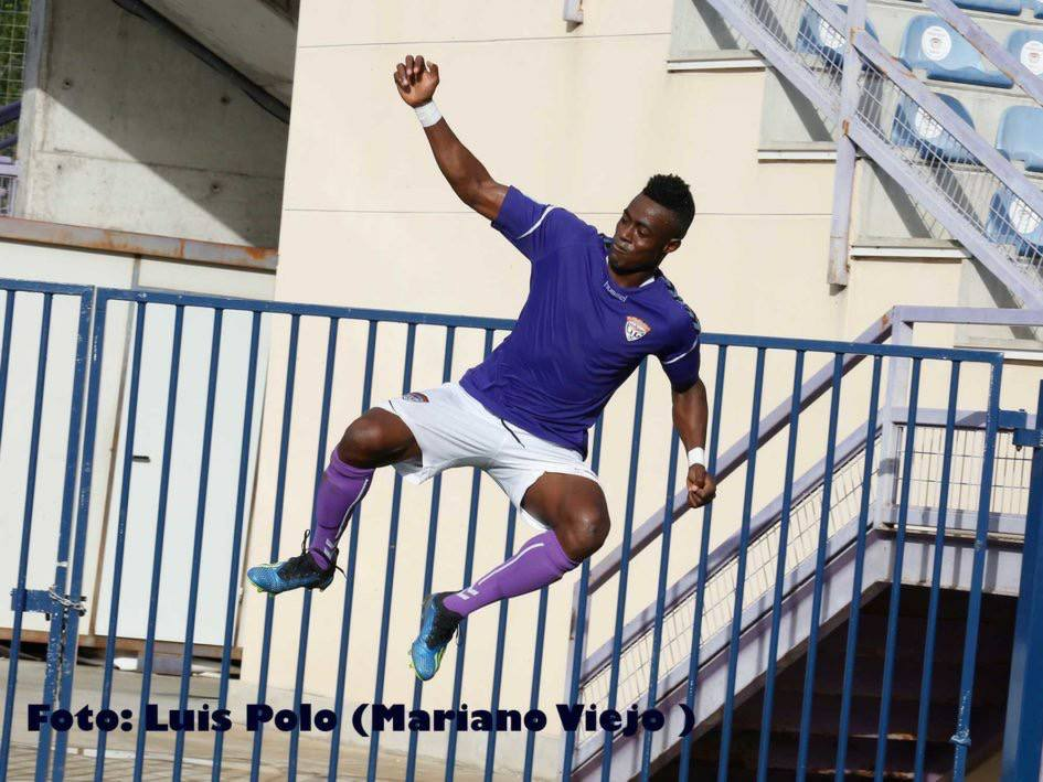 Man on a high: Adolf Otibo celebrates his goal Tomelloso